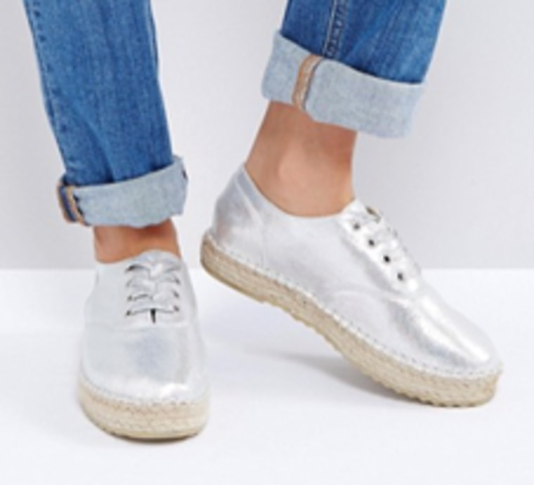 Truffle Metallic Lace Up Espadrille
