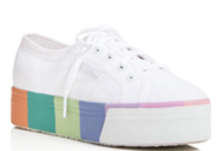 Superga Cotmultifoxingw Striped Platform Sneakers