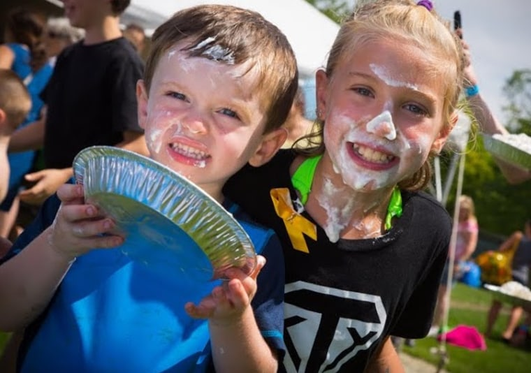 Kids who attend Mess Fest can throw pies, participate in food fights, and ride zip lines.