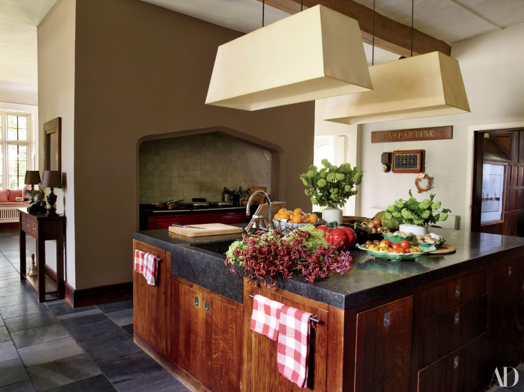Schiffer's spacious kitchen is the perfect center for hosting a dinner party.