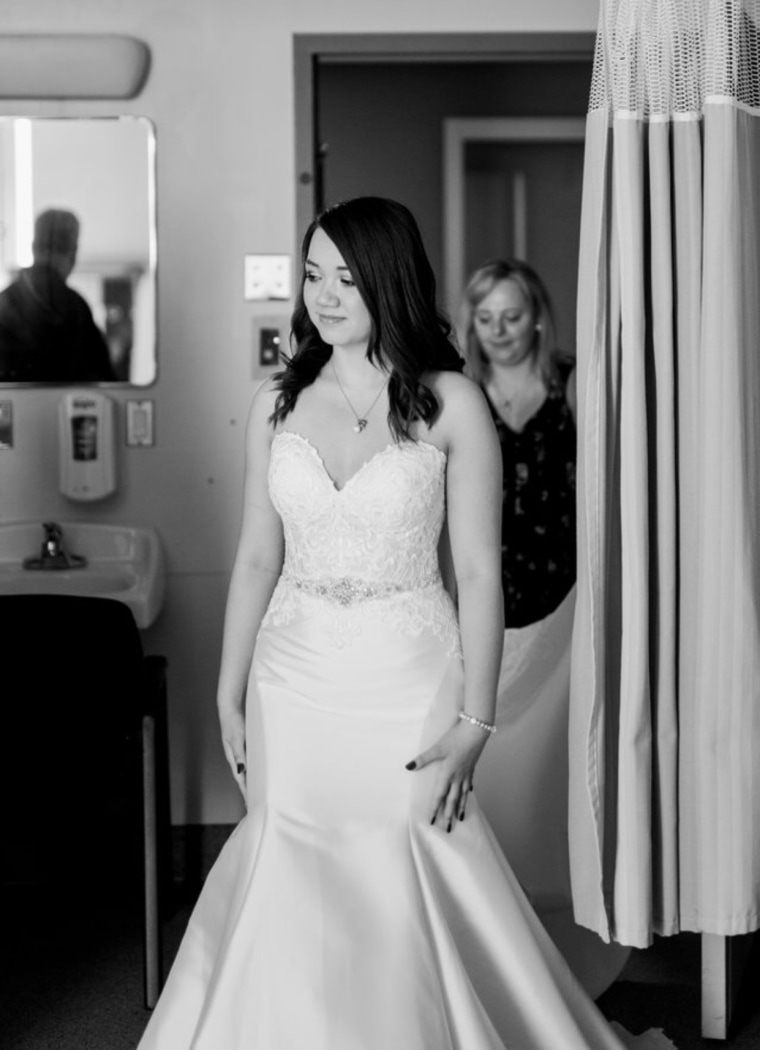 mother ill with cancer helps teen daughter choose a wedding gown from her hospital bed