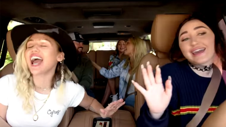 Carpool karaoke with Miley Cyrus and her family