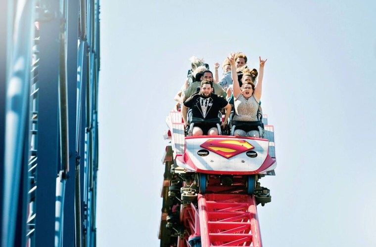 Couple who got married on a roller coaster