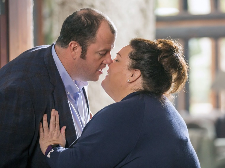 "The first of 12 kisses? Chrissy Metz and Chris Sullivan get up close and personal on ""This Is Us."""