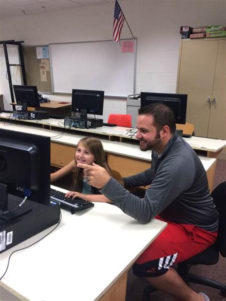 Adam Scanlan and student, Bri, at South Milwaukee High School.