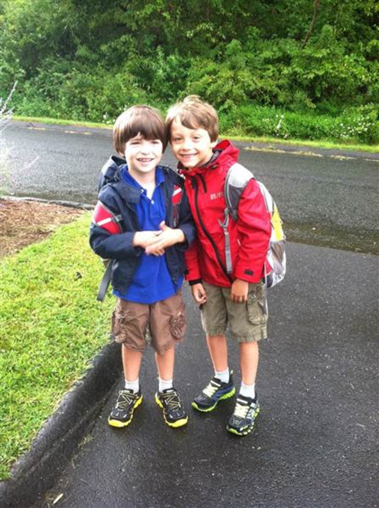 First day of school for the Hockley brothers in 2012.