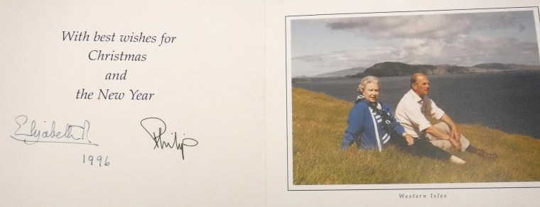 The Queen and Prince Philip sent a photograph of themselves on a blustery hill in the Western Isles as their 1996 card.