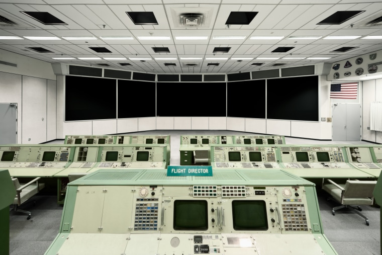 Mission control at Johnson Space Center in Houston.
