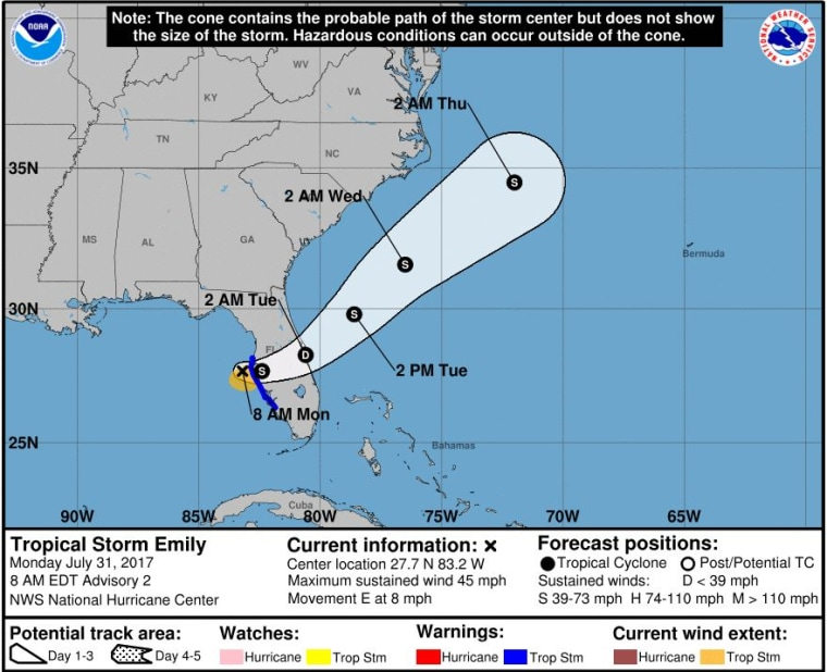 A map shows the projected path of Tropical Storm Emily.