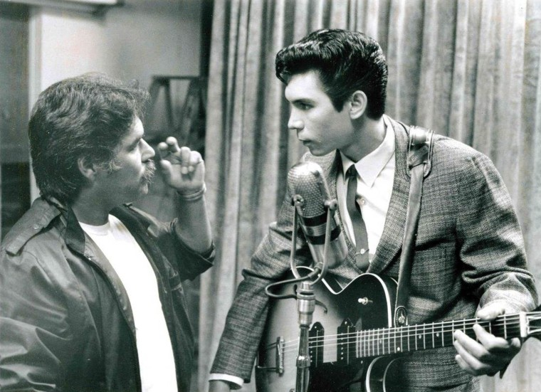 "Image: Luis Valdez with Lou Diamond Phillips playing Ritchie Valens in ""La Bamba."""