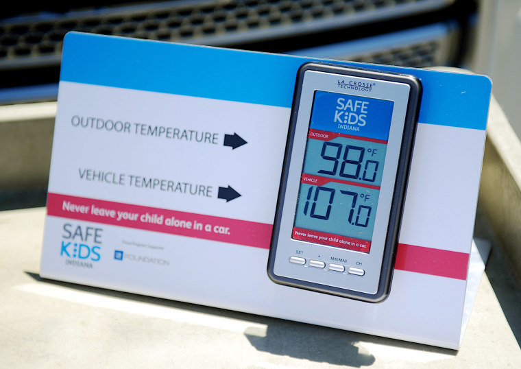 Image: a wireless monitor to record the temperature outside and inside of a closed vehicle