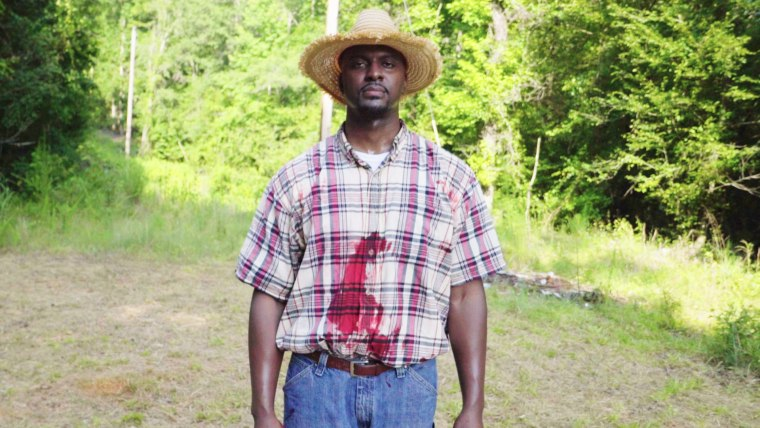 Image: Kenji Hundley as George Dorsey in the Moore's Ford reenactment on July 22, 2017.