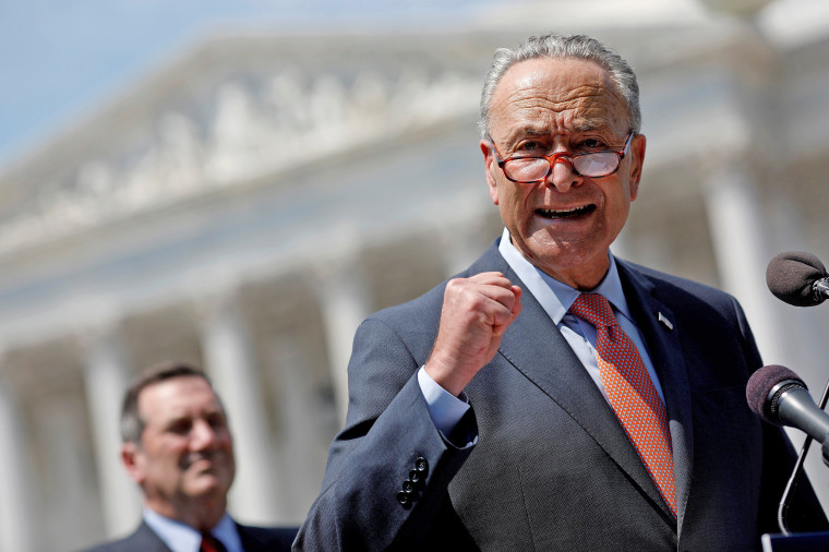 Image: Senate Minority Leader Chuck Schumer speaks during a press conference for the Democrats' new economic agenda on Capitol Hill in Washington