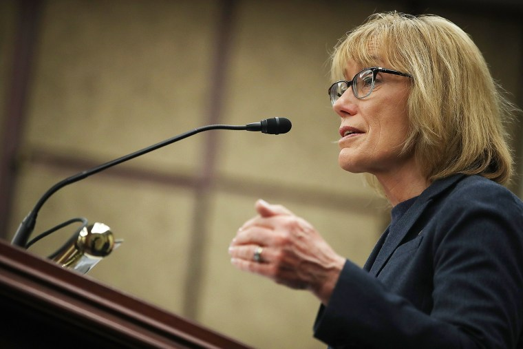 Image: U.S. Sen. Maggie Hassan (D-NH) speaks during a news conference at the U.S. Capitol