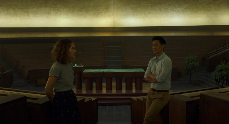 Casey (Haley Lu Richardson) and Jin (John Cho) inside one of Columbus, Indiana's iconic buildings.