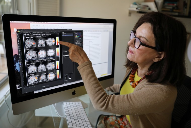 Image: Dr. Ivanka Savic points to a study on the screen of her computer at her home in Los Angeles