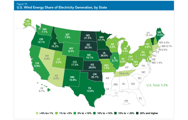 Image: Wind energy share of electricity generation by state