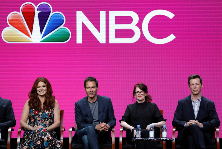 """Image: Cast members Messing, McCormack, Mullally and Hayes attend a panel for the television series \""""Will & Grace\"""" during the TCA NBC Summer Press Tour in Beverly Hills"""