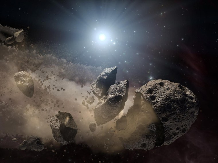 Researchers have found that a family of asteroids that dates back to the solar system's early days. Here is an artist's concept of a broken-up asteroid. The leftover building blocks of the solar system, called planetesimals, were similarly fragmented, and they drifted apart over time.