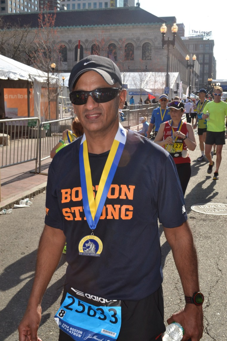 Mohan Iyer after running the Boston Marathon. He said it was one of the most emotional finishes in his marathon career.
