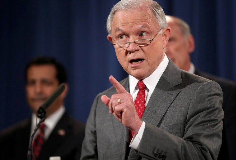 Image: Attorney General Jeff Sessions speaks during a news conference at the Justice Department in Washington, Aug. 4, 2017, on leaks of classified material threatening national security.