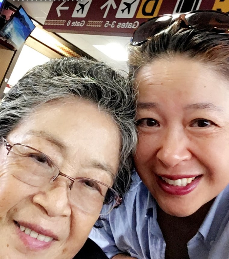 Image: Frances Kai-Hwa Wang and her mother at the airport.
