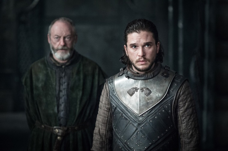 "Kit Harington, front, and Liam Cunningham in season 7 of ""Game of Thrones."""