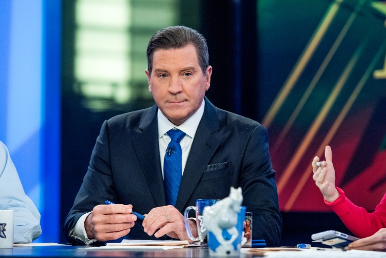 """Image: Fox Host Eric Bolling sits on the panel of Fox News Channel's \""""The Five\"""" as pundit Bob Beckel rejoins the show at FOX Studios on Jan. 17, 2017 in New York City."""