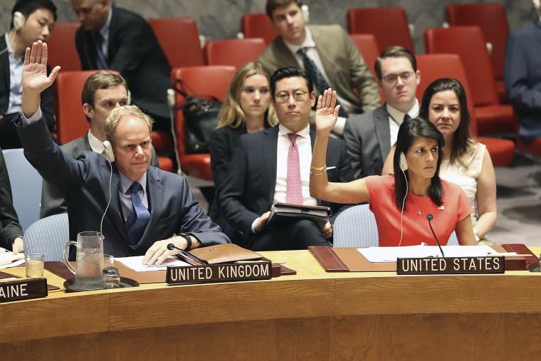 Image: British Ambassador to the United Nations Matthew Rycroft, left, and U.S. Ambassador to the United Nations Nikki Haley