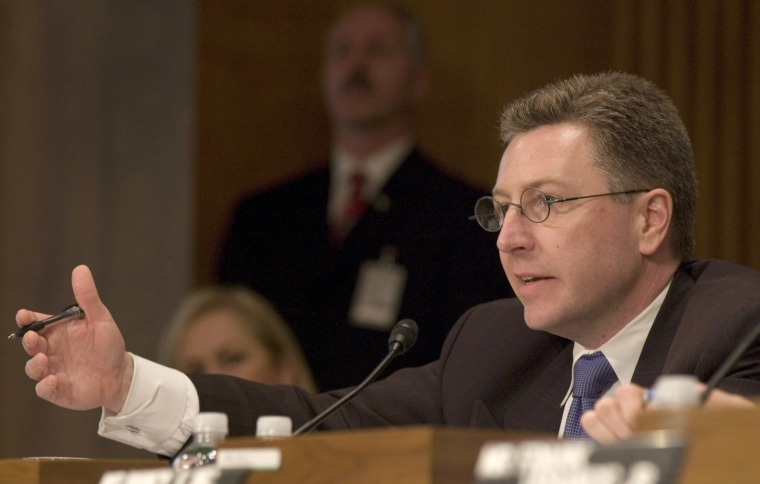 Image: Kurt D. Volker speaks at a Senate Foreign Relations Committee hearing.