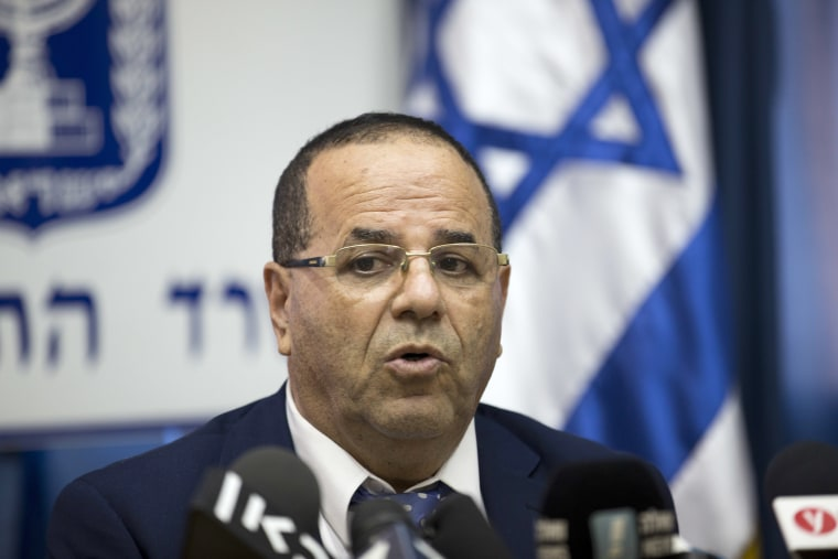 Image: Israel's Communications Minister Ayoob Kara speaks during a press conference in Jerusalem, Aug. 6, 2017.