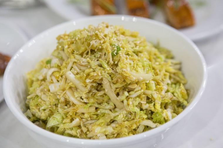 Lucinda Scala Quinn makes cabbage slaw inspired by Japanese cuisine.