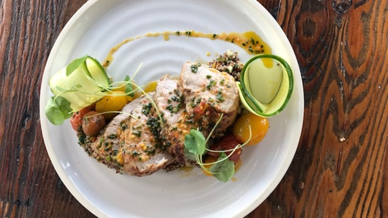 Pork Tenderloin with Quinoa Salad and Cherry Tomatoes
