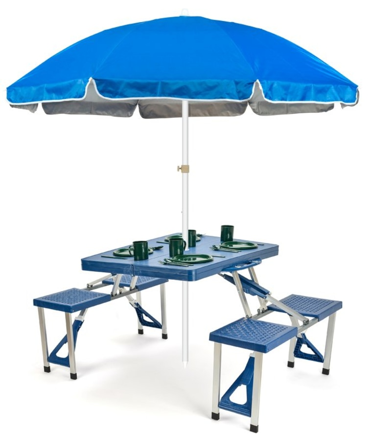 Portable Picnic Table and Umbrella