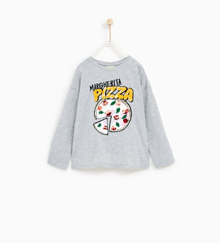 DOUBLE SEQUINNED T-SHIRT WITH PIZZA APPLIQU?