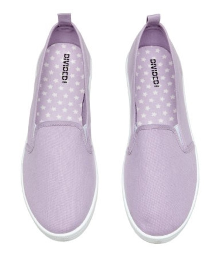 Canvas Slip-On Shoes in Light Purple