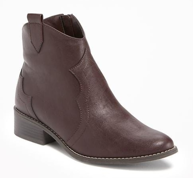 Heeled Western Ankle Boots for Girls