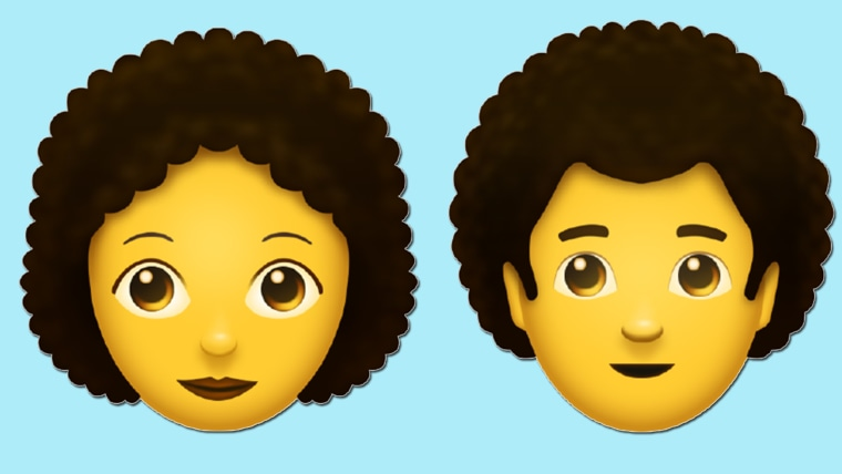 Person with curly hair emoticon