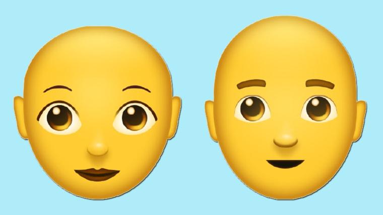 Person with bald head emoticon