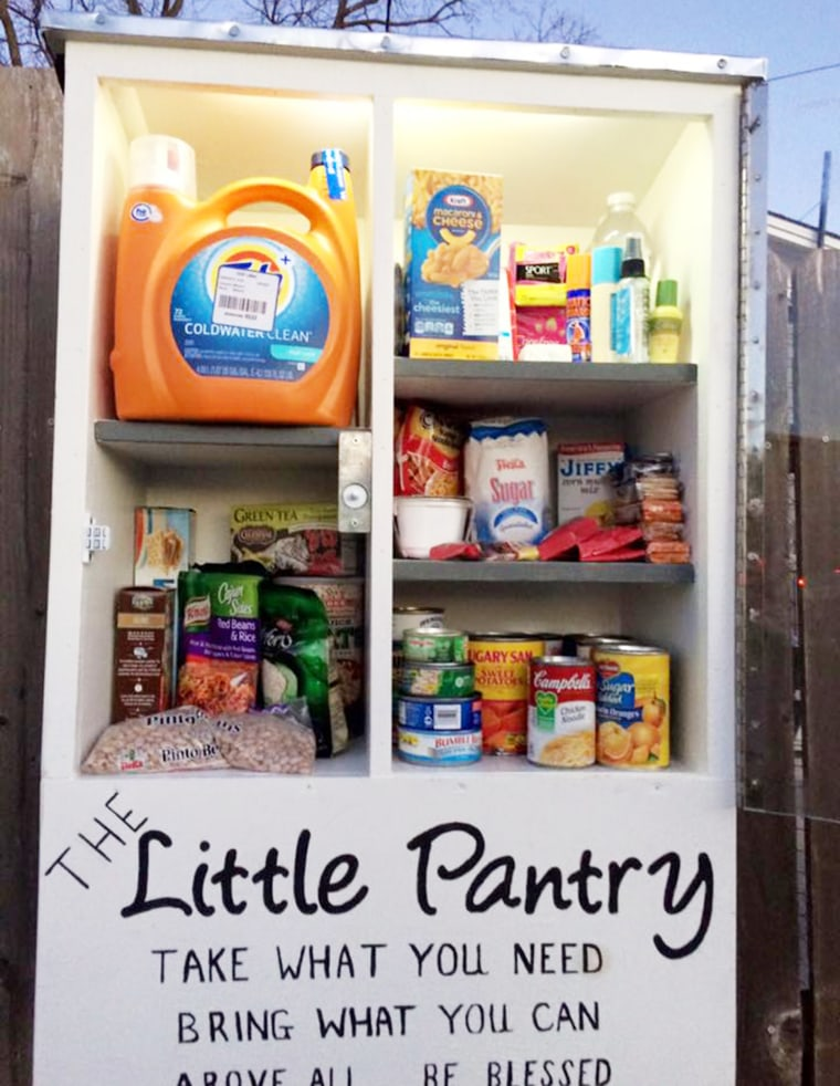 Some pantries also include household items like detergent or school supplies for children.