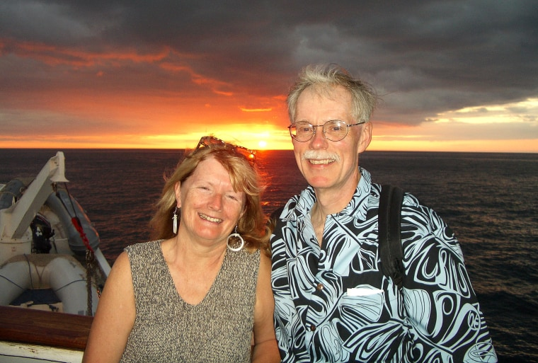 Fred and Patricia Espenak on eclipse expedition to the Galapagos Islands.