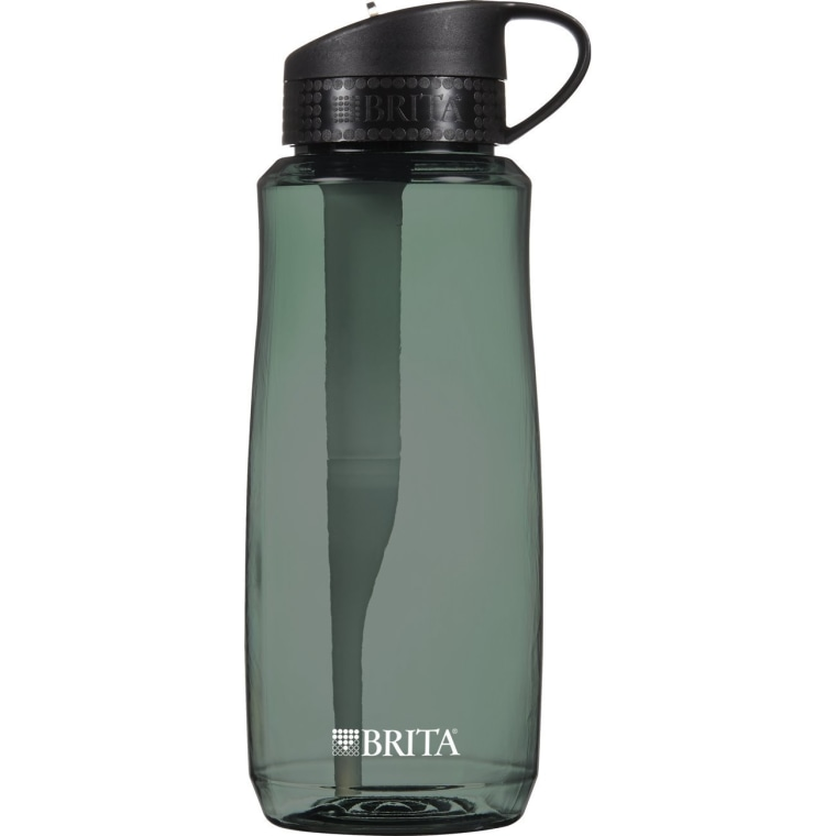 Brita 34 Ounce Hard Sided Water Bottle with 1 Filter, BPA Free, Black