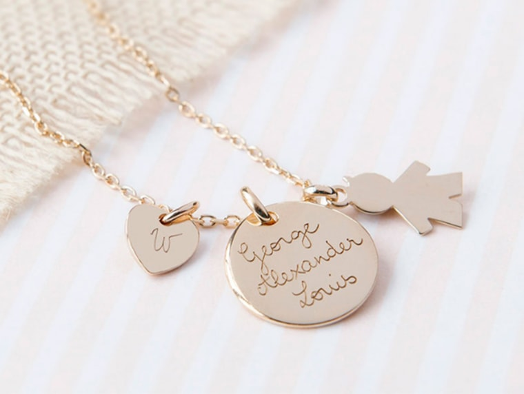 A replica of the personalized necklace Pippa Middleton gave to her sister after the birth of Duchess Kate's first child, George.