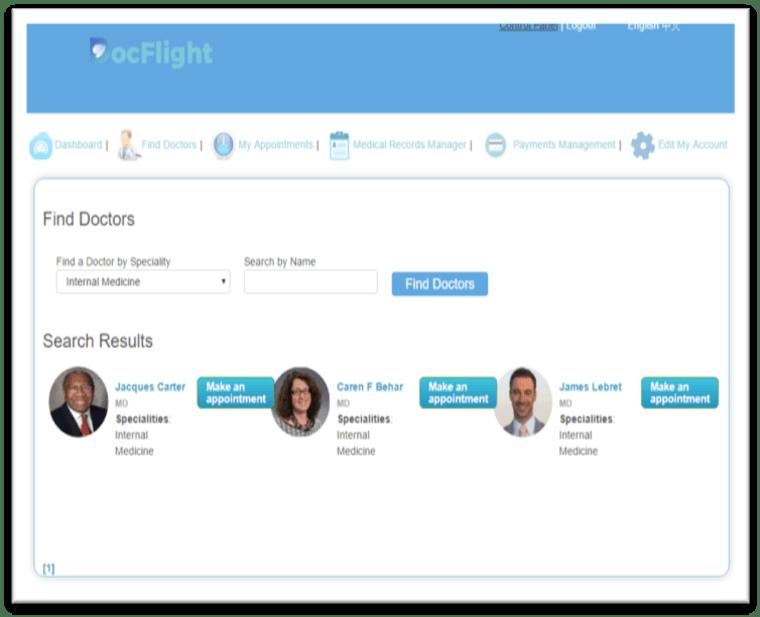 "Image: DocFlight's ""Find Doctors"" page."