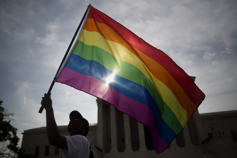 Image: Rainbow flag outside the U.S. Supreme Court in Washington, D.C., U.S., on Friday, June 26, 2015.