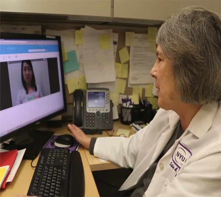 A DocFlight doctor demonstrates the application's video conferencing ability.