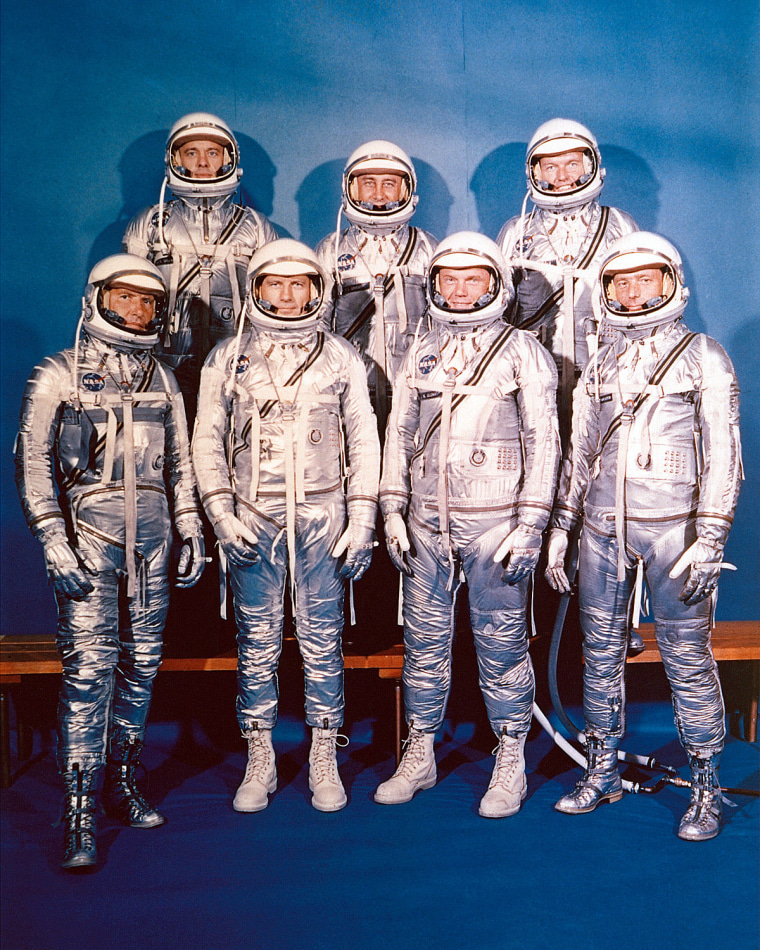 The original seven Mercury astronauts.
