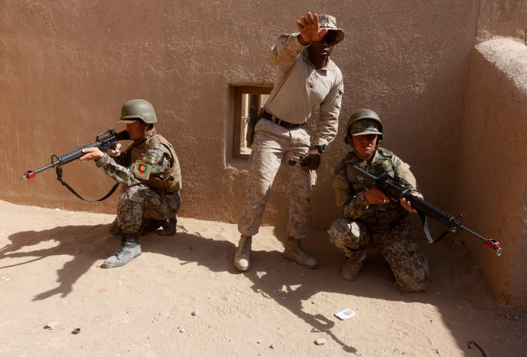 Image: A U.S. Marine helps train Afghan National Army (ANA) soldiers in Helmand province