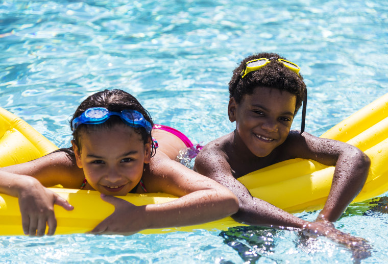 Image: Children on Pool Raft
