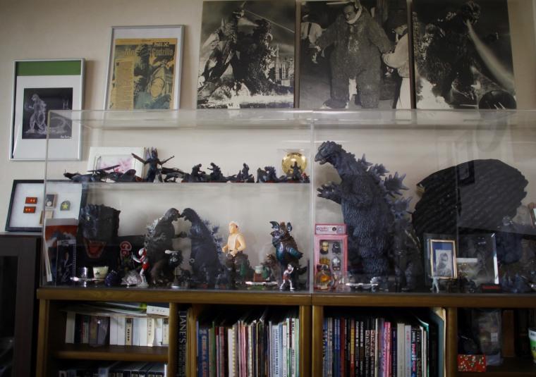 Image: Godzilla memorabilia is displayed in the home of actor Haruo Nakajima